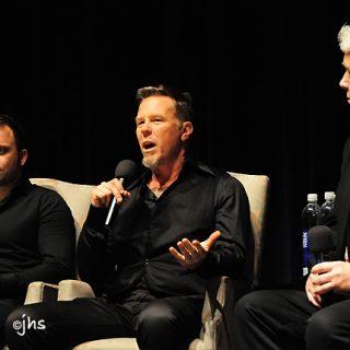 Джеймс Хетфилд и режиссер фильма «Отсутствующий» Джастин Хант во время презентации фильма, март 2011 г